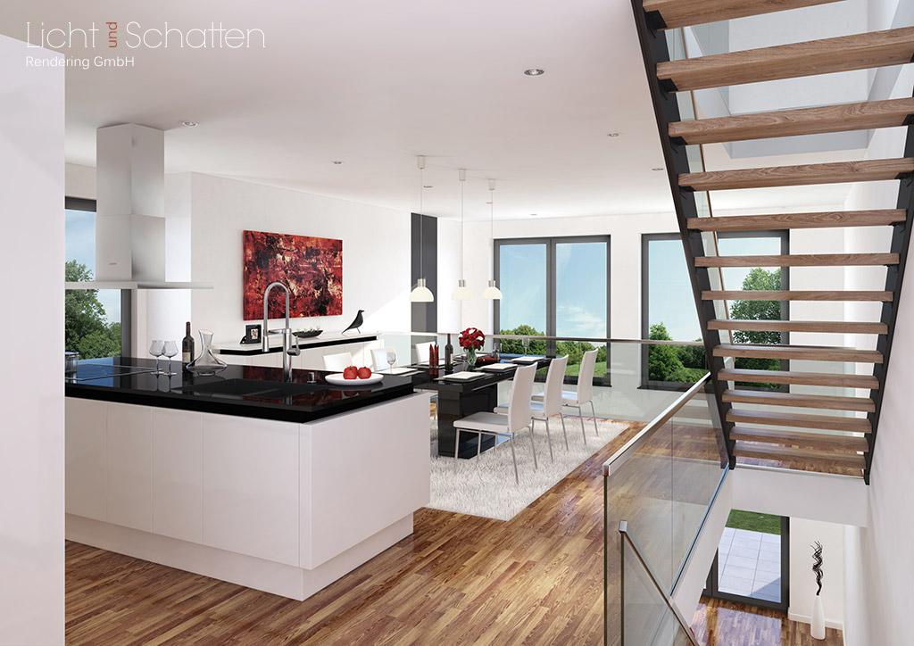 Architekturvisualisierung Wohn-Essbereich