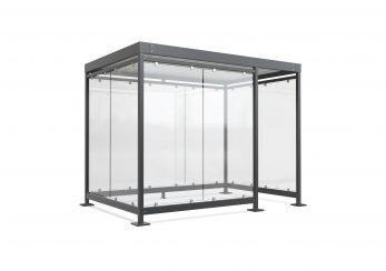 Visualisierung 3D Ueberdachungssystem Stahl und Glas