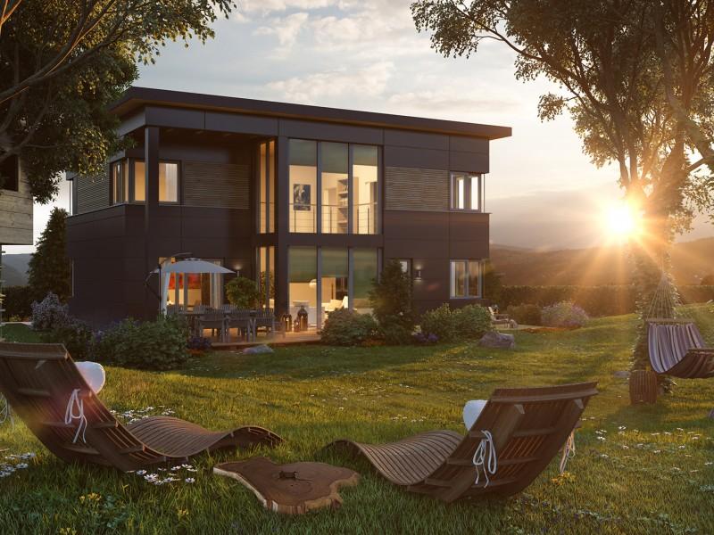 Architekturvisualisierung Abendsonne
