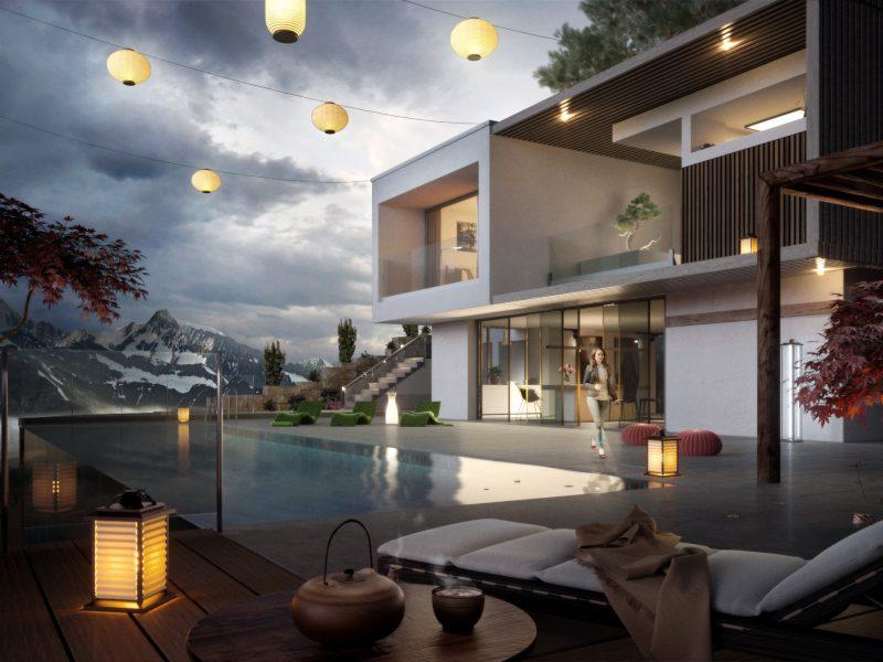 Architekturvisualisierung-Villa-Abendstimmung
