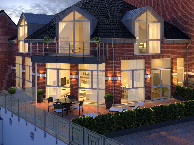 Architekturvisualisierung-Mehrfamilienhaus-Abendansicht
