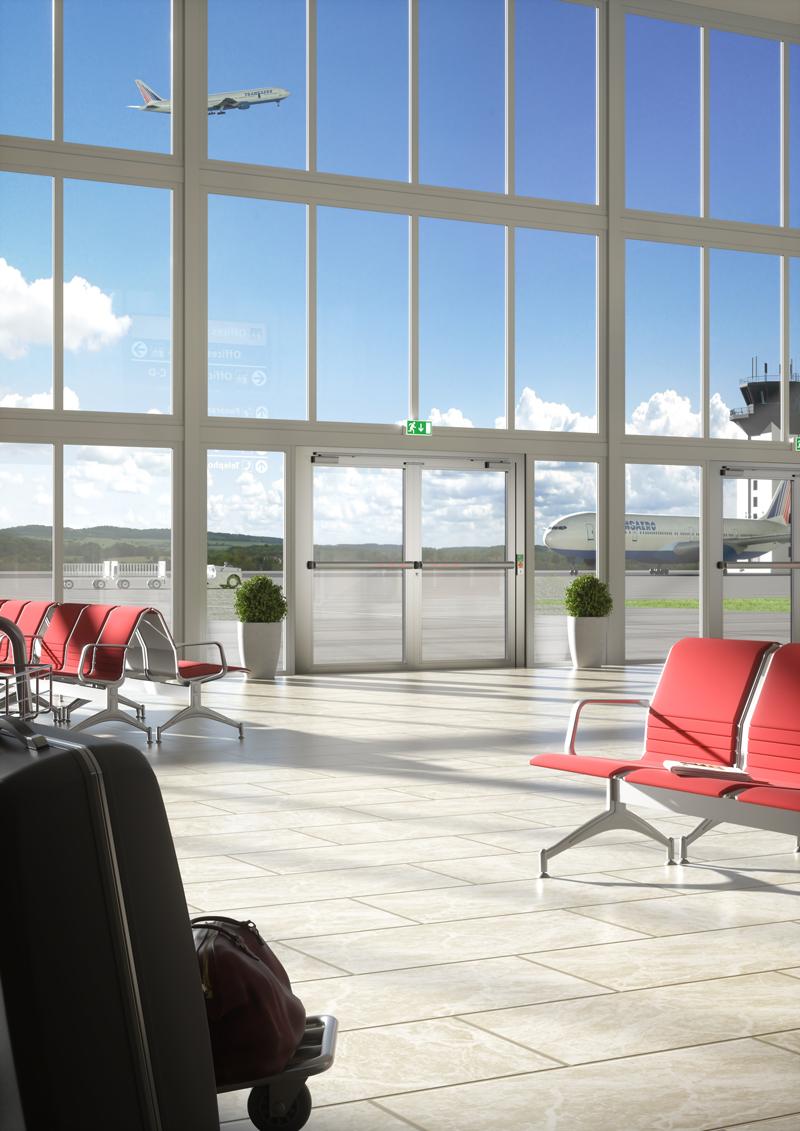Rendering einer Flughafenhalle